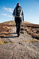 Female hiker hiking near Hay Bluff, Black Mountains, Wales