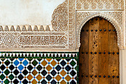 Moorish tiled detail of the Alhambra Palace in Granada, Andalucia