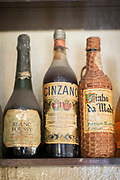 Old liquor bottles in bar in Casablanca, Morocco