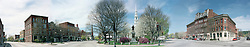 Spring panorama of Central Square, Keene, New Hampshire.