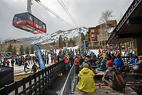 Skiers and snowboarders on the deck of Nick Wilson's cafe and the Aerial Tram Valley Station to reflect on the 2017-18 season Sunday, the final day of operations at Jackson Hole Mountain Resort.