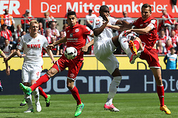 COLOGNE, May 21, 2017  Anthony Modeste (2nd R) of 1. FC Koeln fight for the ball during the Bundesliga match between 1. FC Koeln and FSV Mainz 05 in Cologne, Germany, May 20, 2017. Koeln won 2-0. (Credit Image: © Ulrich Hufnagel/Xinhua via ZUMA Wire)