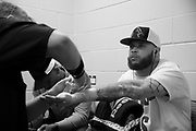 DALLAS, TX - MAY 13:  Rashad Coulter has his hands wrapped before fighting Chase Sherman during UFC 211 at the American Airlines Center on May 13, 2017 in Dallas, Texas. (Photo by Cooper Neill/Zuffa LLC/Zuffa LLC via Getty Images) *** Local Caption *** Rashad Coulter