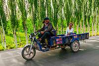 Farmers on the road leaving the Sunday Livestock market just outside Kashgar (China's westernmost city), Xinjiang Province, China. Kashgar is along the Silk Road, near Tajikistan and Pakistan.