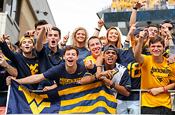Sep 22, 2018; Morgantown, WV, USA; West Virginia Mountaineers students pose for a photo during the first quarter against the Kansas State Wildcats at Mountaineer Field at Milan Puskar Stadium. Mandatory Credit: Ben Queen-USA TODAY Sports