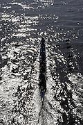 Putney. London,  Great Britain.<br /> Oxford. Isis, moving away from Hammersmith Bridge.<br /> 2016 Tideway Week, Putney. Putney Embankment, Championship Course. River Thames.<br /> <br /> Friday  25/03/2016 <br /> <br /> [Mandatory Credit; Karon PHILLIPS/Intersport-images]