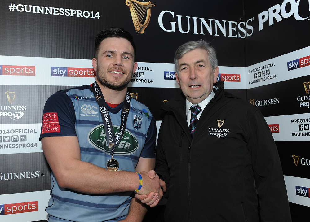 Cardiff Blues' Ellis Jenkins is presented with the man of the match award by Richard Thomas<br /> <br /> Photographer Kevin Barnes/CameraSport<br /> <br /> Guinness Pro14 Round 15 - Cardiff Blues v Munster Rugby - Saturday 17th February 2018 - Cardiff Arms Park - Cardiff<br /> <br /> World Copyright © 2018 CameraSport. All rights reserved. 43 Linden Ave. Countesthorpe. Leicester. England. LE8 5PG - Tel: +44 (0) 116 277 4147 - admin@camerasport.com - www.camerasport.com
