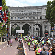 Thousands of riders participate for the Prudential RideLondon FreeCycle at The Mall on 28 July 2018, London, UK