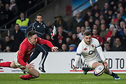 Twickenham, Surrey. UK. Jonny MAY, beat's, wales wing, Josh ADAMS to the ball and gather's the ball, to score the first try during the Six Nations Rugby Match, England vs Wales RFU Stadium, Twickenham. Surrey, England. on Saturday 10.02.18<br /> <br /> <br /> [Mandatory Credit Peter SPURRIER/Intersport Images]