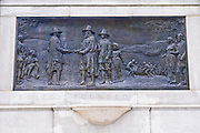 Plaque depicting the pilgrims arrival and founding of Boston at the Public Garden, Boston, Massachusetts