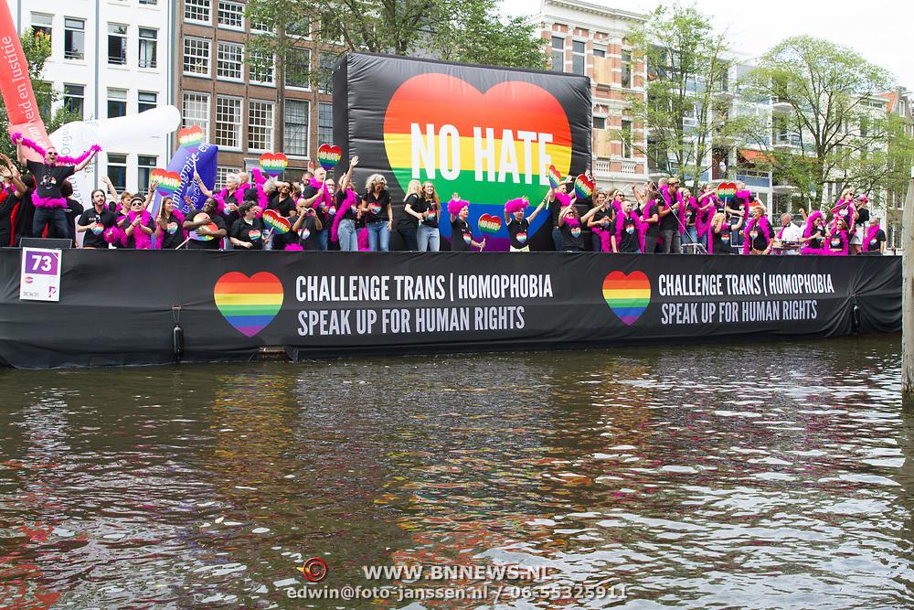 NLD/Amsterdam//20170805 - Gay Pride 2017, Boot Ministerie van Veiligheid en Justitie