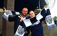 two West Bromwich Albion fans outside the ground ahead of k/o .Premier league match, West Bromwich Albion v West Ham United at the Hawthorns stadium in West Bromwich, Midlands on Saturday 16th September 2017. pic by Bradley Collyer, Andrew Orchard sports photography.