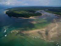 Aerial view of the Boca Grande river mouth.<br />Coiba Island<br />Coiba National Park<br />Panama