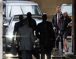 © Licensed to London News Pictures. 08/05/2019. London, UK. British Prime Minister Theresa May (right) is seen arriving at the Houses of Parliament in Westminster ahead of PMQs. Talks between Number 10 and Labour party officials continue in an attempt to reach an agreement on a withdrawal agreement from the EU. Photo credit: Ben Cawthra/LNP