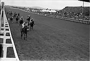 """29/06/1963<br /> 06/29/1963<br /> 29 June 1963<br /> Irish Sweeps Derby at the Curragh Racecourse, Co. Kildare. Image shows """"Ragusa"""" with Garnie Bougoure up, winning the Irish Sweeps Derby from """"Vic Mo Chroi"""" (right) and """"Tiger""""."""