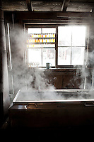 Steam rising from an evaporator pan at Morse Farm Sugar Works in Montpelier, VT.