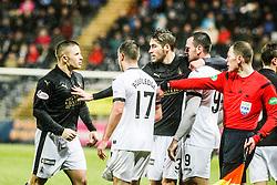 Falkirk's John Baird after Dumbarton's Grant Gallagher's tackle. <br /> Falkirk 1 v 0 Dumbarton, Scottish Championship game played 26/12/2015 at The Falkirk Stadium.