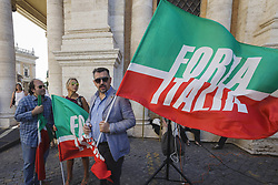 June 22, 2017 - Rome, Italy - Supporters of political party Forza Italia (Go, Italy!) take part in a rally to protest against Rome's Mayor Virginia Raggi in Rome, Italy on June 22, 2017. Several hundred people gathered in Capitol Hill Square to protest against Mayor of Rome Virginia Raggi and her policy after one year of the Five Star government. (Credit Image: © Giuseppe Ciccia/NurPhoto via ZUMA Press)