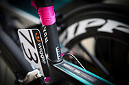 Hannah Barnes (GBR) riding for Canyon/SRAM Racing's bike with breast cancer charity pink ribbon ahead of the OVO Energy Women's Tour, London Stage, at Regent Street, London, United Kingdom on 11 June 2017. Photo by Martin Cole.