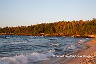 64795-03408 Lake Michigan shore at sunset Alger Co. MI