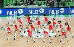 Cheerleaders Ice Ladies during second semi-final match of Basketball NLB League at Final four tournament between KK Union Olimpija and Krka (SLO), on April 19, 2011 at SRC Stozice, Ljubljana, Slovenia. (Photo By Matic Klansek Velej / Sportida.com)