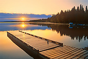Dock on Childs Lake at sunrise<br />Duck Mountain Provincial Park<br />Manitoba<br />Canada