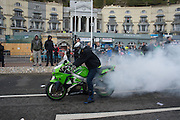 Burning oil, Bikers in Hastings , East Sussex for the May Bank Holiday. 2 May 2016