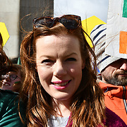 The colourful St Patrick Parade days 2017 was watched by thousands who line up the streets from Piccadilly to Trafalgar Square where speeches were made and a show with music and dane was given to the thousands who packed the square to celebrate St Patrick day 2019 on 17 March 2019, London, UK.