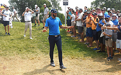 August 12, 2018 - St. Louis, Missouri, U.S. - ST. LOUIS, MO - AUGUST 12: Dustin Johnson is greeted by fans as he walks to the #2 tee during the final round of the PGA Championship on August 12, 2018, at Bellerive Country Club, St. Louis, MO.  (Photo by Keith Gillett/Icon Sportswire) (Credit Image: © Keith Gillett/Icon SMI via ZUMA Press)