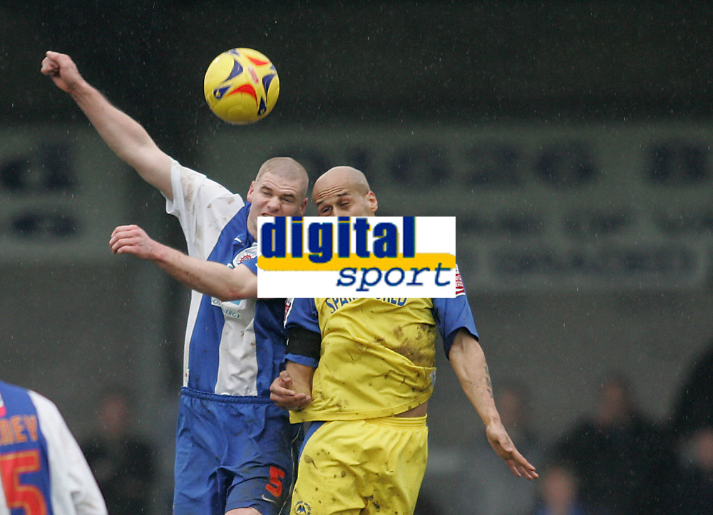 Photo: Lee Earle.<br /> Torquay United v Hartlepool United. Coca Cola League 2. 17/02/2007.Torquay's Lee Thorpe (R) clashes with Michael Nelson.