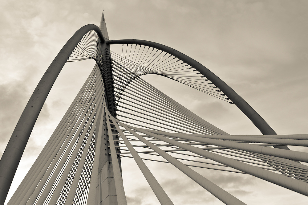 Stock photograph of the Seri Wawasan Bridge in Putrajaya, Malaysia. The image emphasises the superb abstract architectural design.