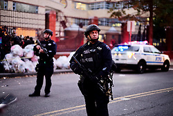 October 31, 2017  Police officers stand guard near the site of an attack in lower Manhattan in New York. Eight people were killed and a dozen more injured after a truck plowed into pedestrians near the World Trade Center in New York City, the mayor said on Tuesday. (Credit Image: © Li Muzi/Xinhua via ZUMA Wire)