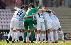 FC Helsingørs spillere gør klar til kampen i 1. Division mellem FC Fredericia og FC Helsingør den 4. oktober 2020 på Monjasa Park i Fredericia (Foto: Claus Birch).
