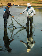 31 MARCH 2016 - NONG LONG, LAMPHUN, THAILAND:   Subsistence fisherman drag the bottom of the Ping River in Lamphun province. The Ping River runs through northern Thailand and is the most important river in the area. People who live along the river said it has never been this low. Normally there is more than a meter of water across the river bottom at this part of the river at this time of year.  People are building small mud dams and catchments along the river bottom to try to keep some water and fish in it.    PHOTO BY JACK KURTZ