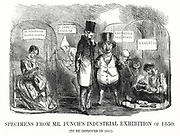 Mr Punch showing Prince Albert, the Prince Consort, the pathetic condition of British workers used as sweated labour, and hoping things will be improved by the forthcoming Great Exhibition 1851. Cartoon from 'Punch', London, 1851.
