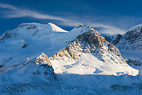 Mount Athabasca 3,491 m (11,453 ft) in winter seen from the glacial plain of the Sunwapta River, Jasper National Park Alberta Canada
