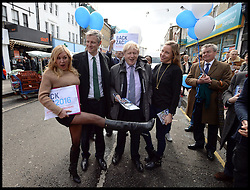 Image ©Licensed to i-Images Picture Agency. 06/04/2016. London, United Kingdom. Zac Goldsmith Campaigning. The Conservative Party Mayoral Candidate Zac Goldsmith campaigning. Zac Goldsmith with the London Mayor Boris Johnson meeting fans on a walkabout in Portobello Road. Picture by Andrew Parsons / i-Images