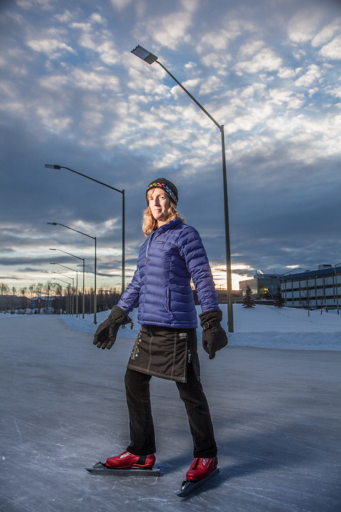 Nurse Epidemiologist, Peggy Cobey, at the Cuddy Park ice skating oval, Anchorage
