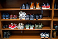 © Licensed to London News Pictures. 05/02/2017. London, UK. Shoe rack is seen during an open day at Finsbury Park Mosque in North London. On Visit My Mosque Day over 150 mosques around the UK open their doors to the public, offering a better understanding of religion in effort to counter rising Islamophobia.  Photo credit: Tolga Akmen/LNP