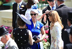 Zara Tindall (centre) with Princess Eugenie of York (left) and Princess Beatrice of York during day one of Royal Ascot at Ascot Racecourse.