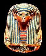 Miniature Mask for a Canopic bundle. New Kingdom, Egypt, 18th Dynasty. Reign of Amenhotep II ca. 1427–1400 B.C. Valley of the Kings, Tomb KV 51