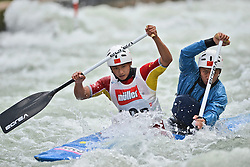 30.06.2013, Eiskanal, Augsburg, GER, ICF Kanuslalom Weltcup, Finale Kanu-Zweier Teams, Maenner. im Bild Hang ZHANG (vorne) und Xiao DENG (hinten) aus China, Finale, Team, Kanu, Canoe, C2, Teams, Herren, China // during the final of canoe double of the men kayak team of ICF Canoe Slalom World Cup at the ice track, Augsburg, Germany on 2013/06/30. EXPA Pictures © 2013, PhotoCredit: EXPA/ Eibner/ Matthias Merz<br /> <br /> ***** ATTENTION - OUT OF GER *****