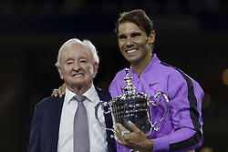 NEW YORK, Sept. 9, 2019  Australian tennis great Rod Laver (L) poses with Rafael Nadal of Spain during the awarding ceremony after the men's singles final match between Rafael Nadal of Spain and Daniil Medvedev of Russia at the 2019 US Open in New York, the United States, Sept. 8, 2019. (Credit Image: © Li Muzi/Xinhua via ZUMA Wire)