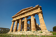 The ancient Doric Greek Temple of Hera of Paestrum  built in about 460-450 BC. Paestum archaeological site, Italy. .<br /> <br /> If you prefer to buy from our ALAMY PHOTO LIBRARY  Collection visit : https://www.alamy.com/portfolio/paul-williams-funkystock/paestum-greek-temples.html<br /> Visit our CLASSICAL WORLD HISTORIC SITES PHOTO COLLECTIONS for more photos to buy as buy as wall art prints https://funkystock.photoshelter.com/gallery-collection/Classical-Era-Historic-Sites-Archaeological-Sites-Pictures-Images/C0000g4bSGiDL9rw