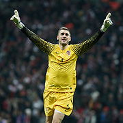 Croatia's goalkeepers Stipe PLETIKOSA celebrate victory during their UEFA EURO 2012 Play-off for Final Tournament First leg soccer match Turkey betwen Croatia at TT Arena in Istanbul Nüovember11, 2011. Photo by TURKPIX
