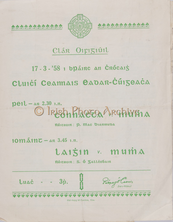 Interprovincial Railway Cup Football Cup Final,  17.03.1958, 03.17.1958, 17th March 1958, referee P MacDiarmuda, Connacht 2-07, Munster 0-08,.Interprovincial Railway Cup Hurling Cup Final,  17.03.1958, 03.17.1958, 17th March 1958, referee S O Fallcobair, Leinster 3-05, Munster 3-07,.