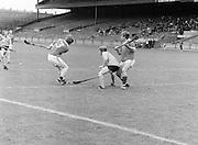 London attempts to block the slitor as Antrim makes an attempts on the goal during the All-Ireland Senior B Hurling Championship Antrim v London at Croke Park on the 25th of June 1978. Antrim 1-16 London 3-7.