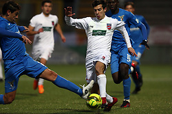 December 9, 2017 - Teramo, Abruzzo, Italy - Lorenzo De Grazia of Teramo Calcio 1913 compete for the ball during the Lega Pro 17/18 group B match between Teramo Calcio 1913 and Alma Juventus Fano 1906 at Gaetano Bonolis stadium on December 09, 2017 in Teramo, Italy. (Credit Image: © Danilo Di Giovanni/NurPhoto via ZUMA Press)