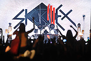 COLUMBIA, MD - October 6th, 2012 - Skrillex (Sonny John Moore) headlines the West Stage at the 2012 Virgin Mobile FreeFest in Columbia, MD. His DJ equipment was set inside a replica space ship. (Photo by Kyle Gustafson / For The Washington Post)