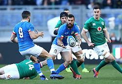 February 24, 2019 - Rome, Italy - Italy v Ireland - Rugby Guinness Six Nations.Jayden Hayward of Italy offloads at Olimpico Stadium in Rome, Italy on February 24, 2019. (Credit Image: © Matteo Ciambelli/NurPhoto via ZUMA Press)